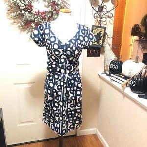 Beautiful Blues Circle Design Etcetera Midi Dress